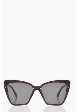 Womens Brown Tortoiseshell Oversized Flat Lens Sunglasses