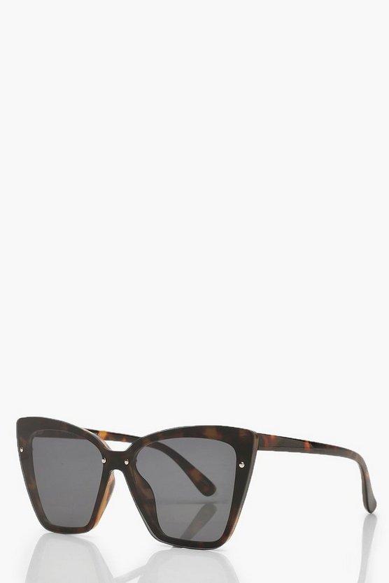 Tortoiseshell Oversized Flat Lens Sunglasses