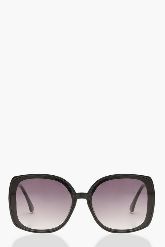 Smoke Lens Metal Arm Oversized Sunglasses