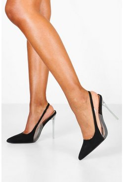Womens Black Clear Panel Stiletto Pointed Courts