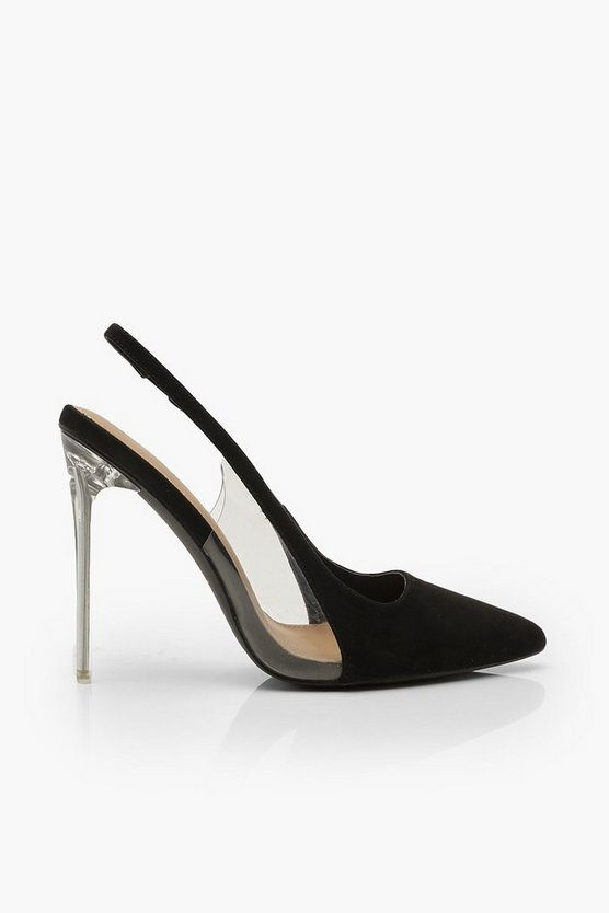 Clear Panel Stiletto Pointed Courts