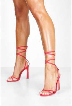 Womens Red Ankle Wrap Stiletto Sandals