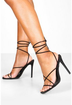 Womens Black Skinny Strap Wrap Sandals
