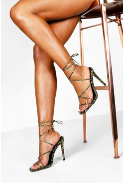 Lime Snake Skinny Strap Wrap Sandals