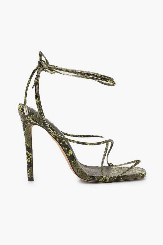 Lime Snake Skinny Strap Wrap Sandals