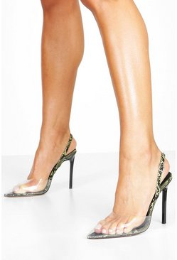 Dam Lime Clear Snake Pointed Sling Back Courts
