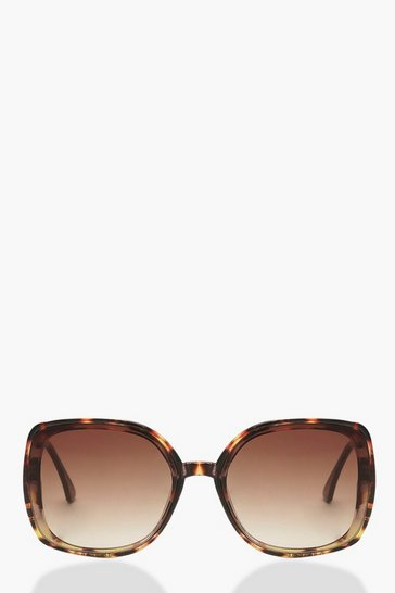 Womens Brown Tortoiseshell Metal Arm Oversized Sunglasses