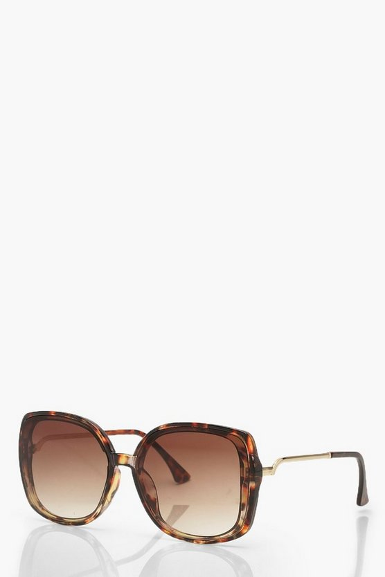 Tortoiseshell Metal Arm Oversized Sunglasses
