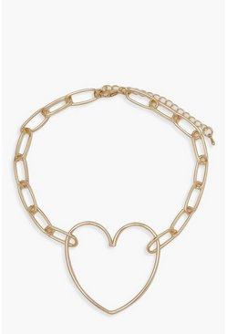 Heart & Link Statement Choker, Gold, DAMEN