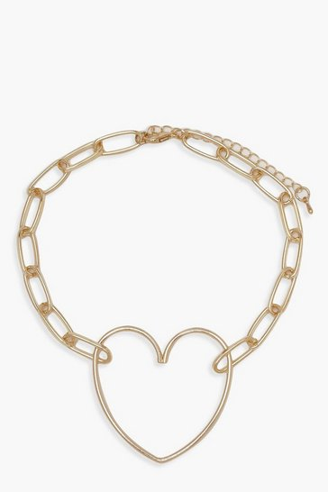 Womens Gold Heart & Link Statement Choker