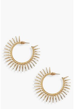 Sun Burst Hoop Earrings, Gold, DAMEN