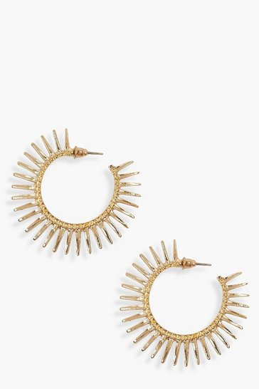 Womens Gold Sun Burst Hoop Earrings