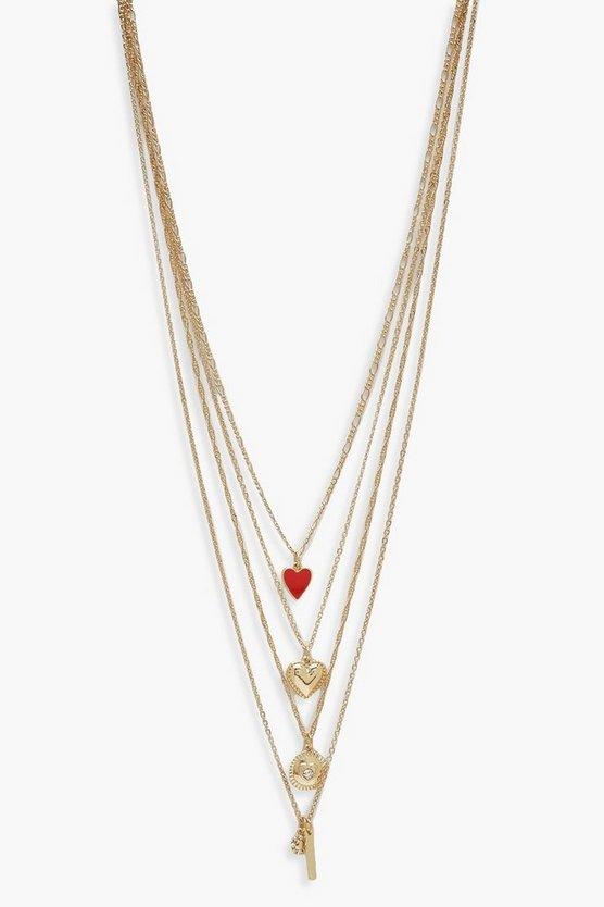 Heart & Diamante Bar Layered Necklace