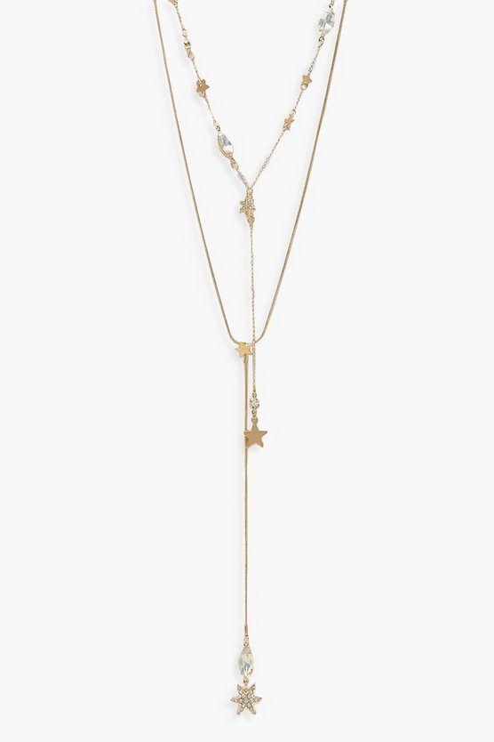 Star And Iridescent Stone Layered Necklace