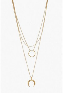 Circle & Horn Layered Necklace, Gold, Donna