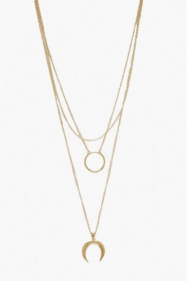 Womens Gold Circle & Horn Layered Necklace