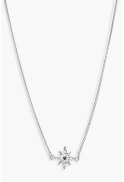Womens Silver Diamante Star Simple Choker