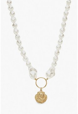 Womens Gold Chunky Pearl And Coin Necklace