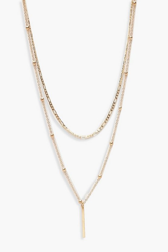 Gold Vintage Chain And Bar Layered Necklace