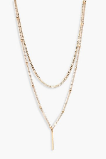 Womens Gold Vintage Chain And Bar Layered Necklace