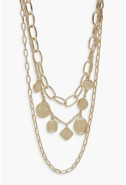 Womens Gold Triple Chain And Coin Statement Necklace