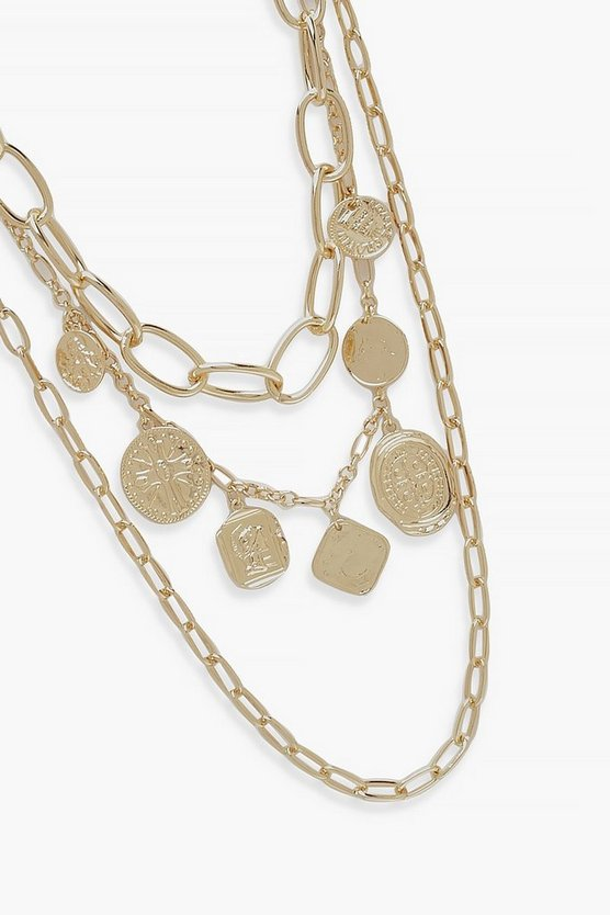 Triple Chain And Coin Statement Necklace