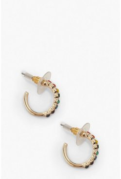 Rainbow Diamante Huggie Hoop Earrings, Gold