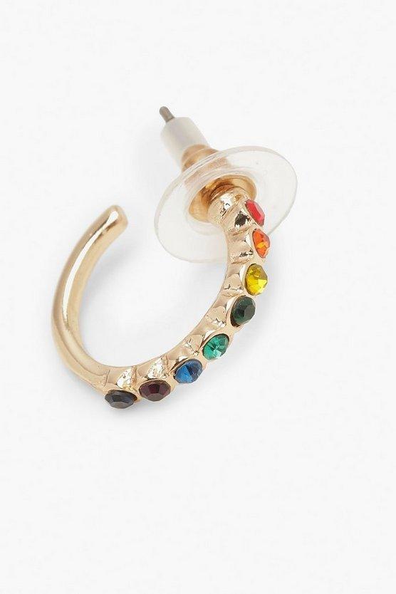 Rainbow Diamante Huggie Hoop Earrings