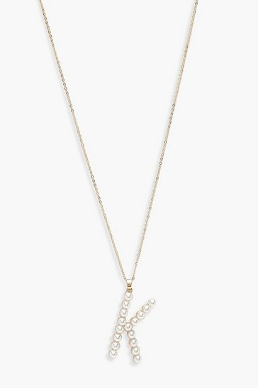 Gold Pearl Embellished K Initial Necklace