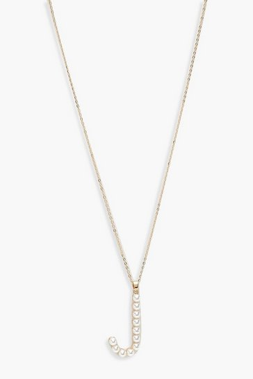 Womens Gold Pearl Embellished J Initial Necklace