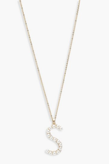 Womens Gold Pearl Embellished S Initial Necklace