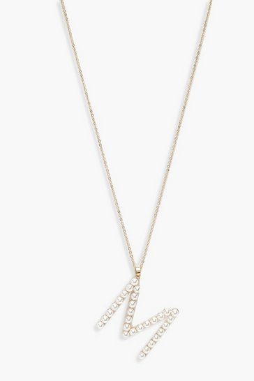 Gold Pearl Embellished M Initial Necklace