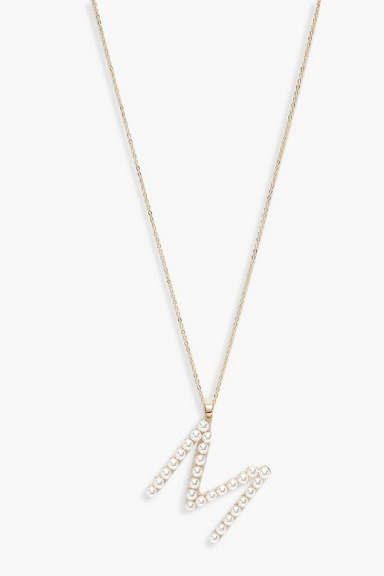 Pearl Embellished M Initial Necklace by Boohoo