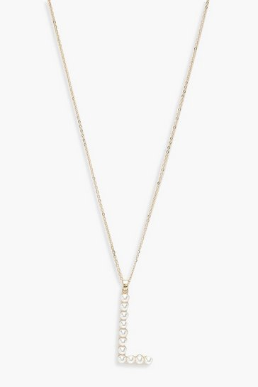 Gold Pearl Embellished L Initial Necklace