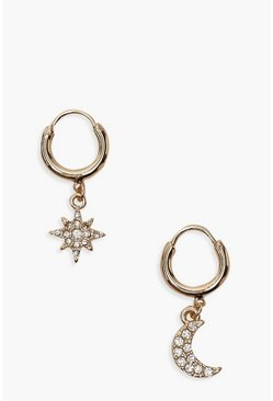 Star And Moon Diamante Huggie Hoop Earrings, Gold
