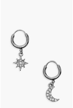 Silver Star And Moon Diamante Huggie Hoop Earrings