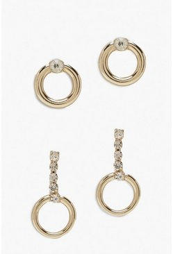 Womens Gold Diamante Mini Circle Earring 2 Pack