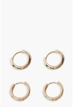 Gold Diamante And Plain Huggie Hoop Two Pack