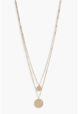 Womens Gold Textured Disc Layered Necklace