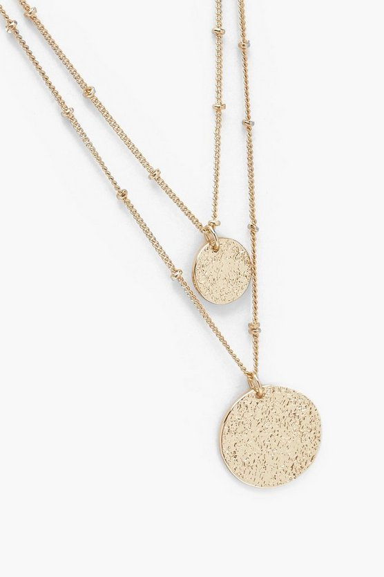 Textured Disc Layered Necklace