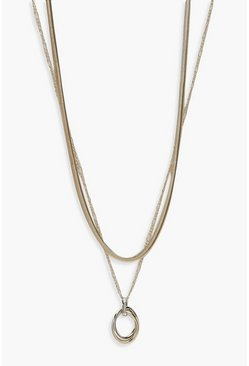 Womens Multi Metal Pendant Layered Necklace
