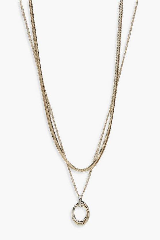 Multi Metal Pendant Layered Necklace