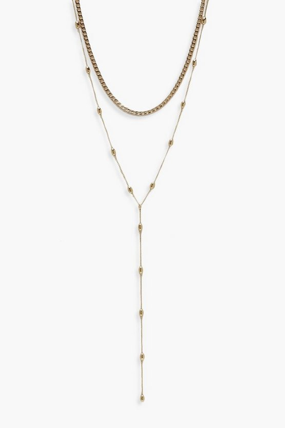 Textured Double Chain Plunge Necklace