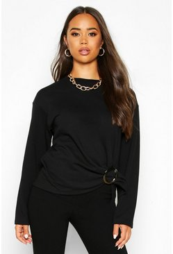 Ring Detail Tie Waist Sweat, Black, Donna