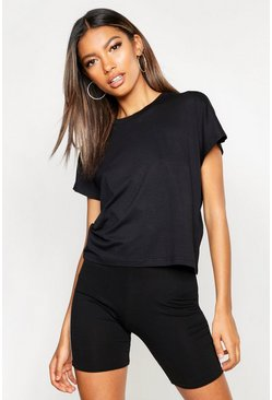 Womens Black Basic Batwing Cap Sleeve T-Shirt