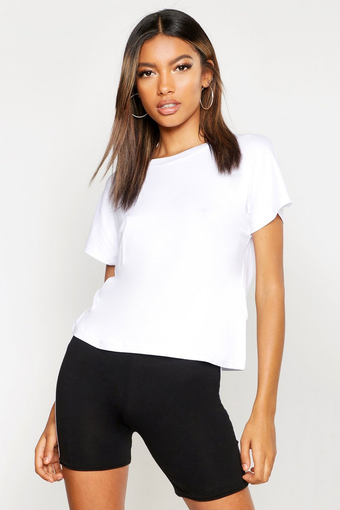 Basic Batwing Cap Sleeve T Shirt by Boohoo