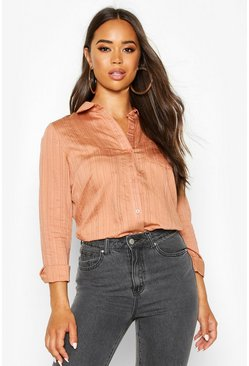 Womens Terracotta Woven Stripe Shirt