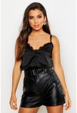 Satin Lace Trim Cami Top, Black