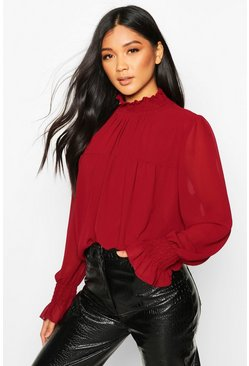 Shirred Neck Cuff Smock Top, Berry