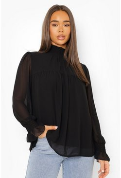 Womens Black Shirred Neck Cuff Smock Top